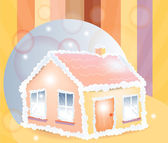 Candy house and bubbles — Stock Vector