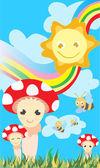 Sun, rainbow, bees and mushrooms — Stock Vector