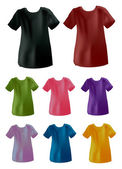 Eight different colors t-shirt — 图库矢量图片