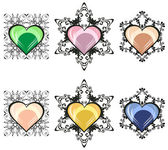 Six different hearts — Stock Vector