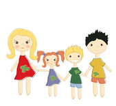 Happy family with two kids — Stock Vector
