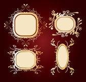 Four golden frames — Stock Vector