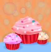 Three delicious cup cakes — Stock Vector