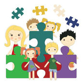 Six kids with Jigsaw puzzle — Stock Vector