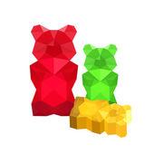 Origami gummy bears — Stock Vector