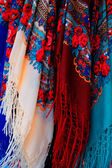 Colorful scarfs for sale — Stock Photo