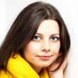 Girl with yellow scarf — Stock Photo