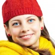 Pretty woman with red hat — Stockfoto