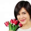 Woman with tulips — Stock Photo #21558067