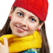 Woman with red hat and yellow scarf — Foto de Stock