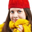 Foto Stock: Woman with red hat and yellow scarf