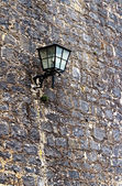 Stone wall and lamp. Wurzburg — Stock Photo