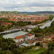 View on Wuerzburg from Marienberg fortress, Germany - Stock Photo