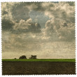 Picture of landscape on old paper — Stockfoto #21632945