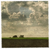Picture of landscape on old paper — Stock Photo