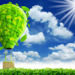 Green balloon with blue sky — Stock Photo