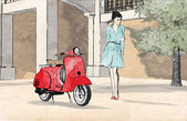 Young woman and red scooter — Stock Photo