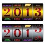 New year in slot machine — Stock Vector