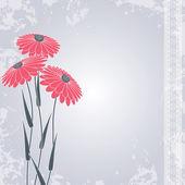 Flores cor de rosa no cinza — Vetorial Stock