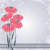 Flores rosadas en gris — Vector de stock