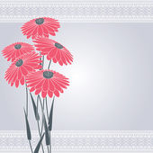 Pink flowers on gray — Stock Vector
