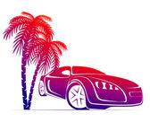 Muscle car near the palm — Stock Vector