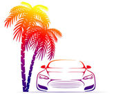 Muscle car near the palm — Stock Vector
