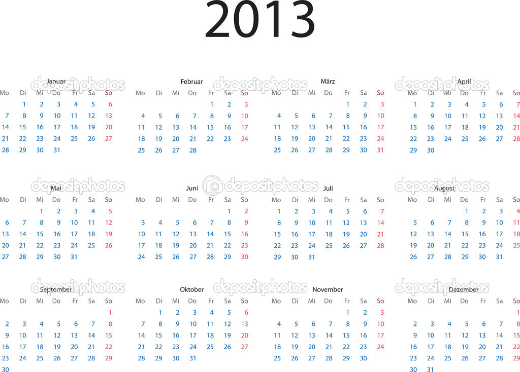 Editable vector template of 2013 calendar in German language — Stock Vector #12589844