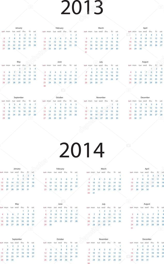 2013-2014 calendar - Stock Illustration