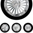 Stock Vector: Car wheels collection