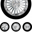 Car wheels collection - Stock Vector