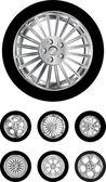 Car wheels collection — Stock Vector