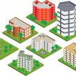 Isometric buildings — Stockvectorbeeld