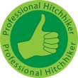 Professional hitchhiker badge - Stock Vector