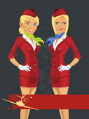 Blonde stewardess womans — Stock Vector