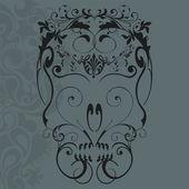 Floral ornaments skull — Stock Vector