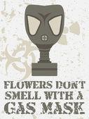 Blommor lukta inte med en gasmask — Stockvektor