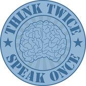 Think twice badge — Stock Vector