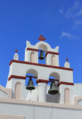 White belfry of greek church at Santorini island, Greece — Foto Stock