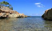 Beautiful sea beach in Hersonissos, Crete Island, Greece — Stock Photo
