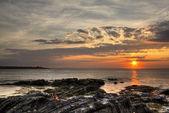 Amanecer faro isla madera — Foto de Stock