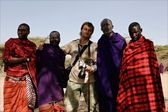 Masai with photographer. — Stock Photo