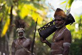 Asmat with drum — Stock Photo