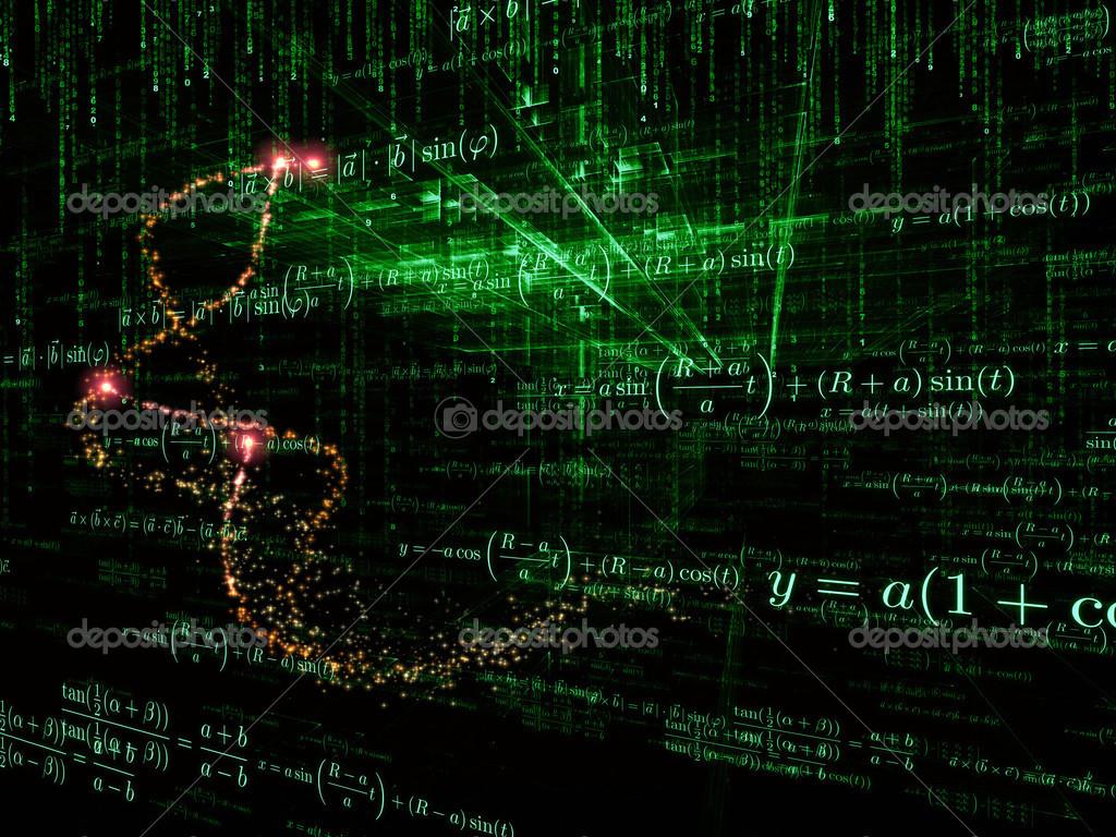 数学公式和设计元素在观点上的商业, 科学, 教育和科技主题背景下 —