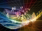 Mot digital fraktal sfärer — Stockfoto