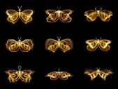 Collection of Fractal Butterflies — Stock Photo
