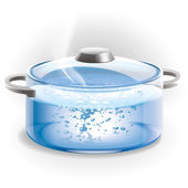 Glass pot of boiling water — Stock Photo