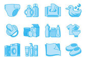 Icons for newborn and mother supplies — Stock Photo