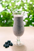 Blueberry milk shake with real fruit — Stock Photo