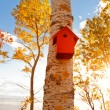 Red aviary, bird house — Stock Photo